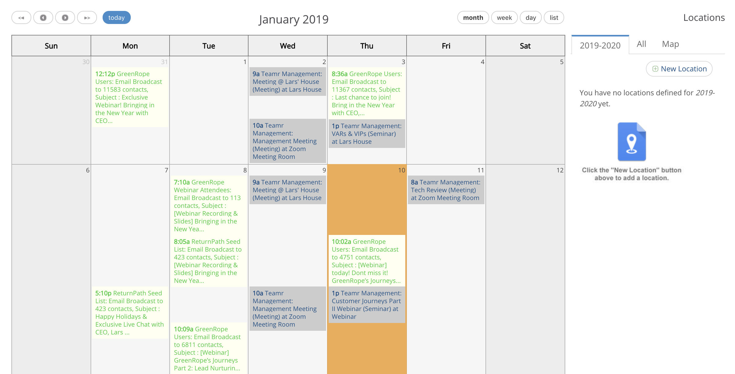 Calendar management in CRM