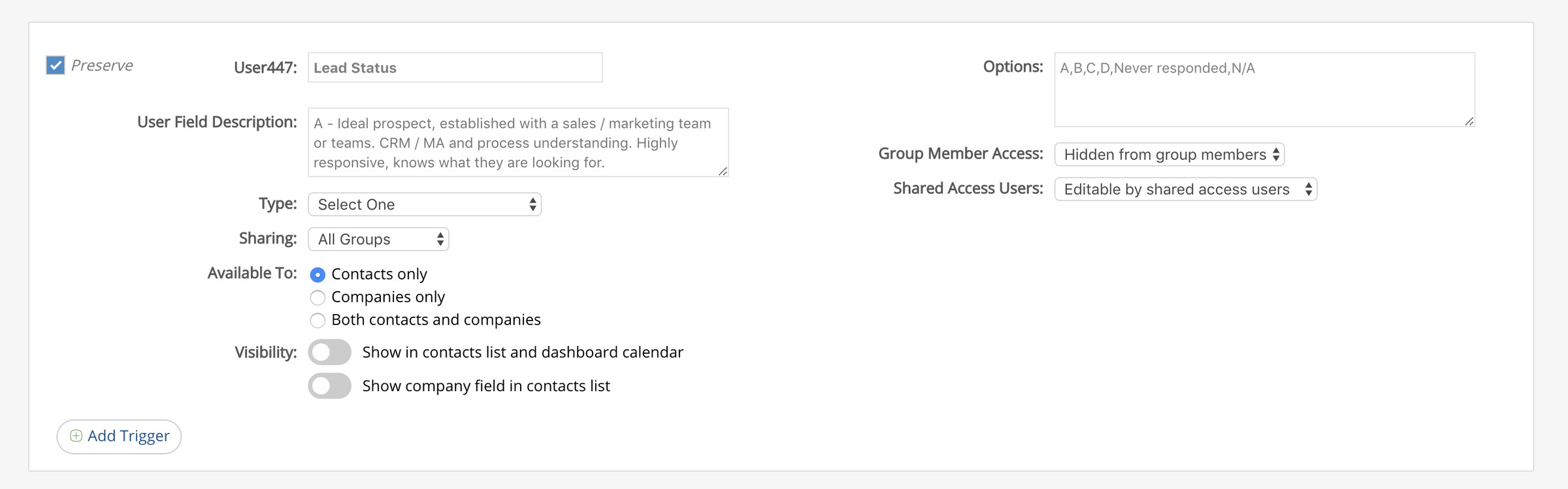 Custom CRM Data Fields