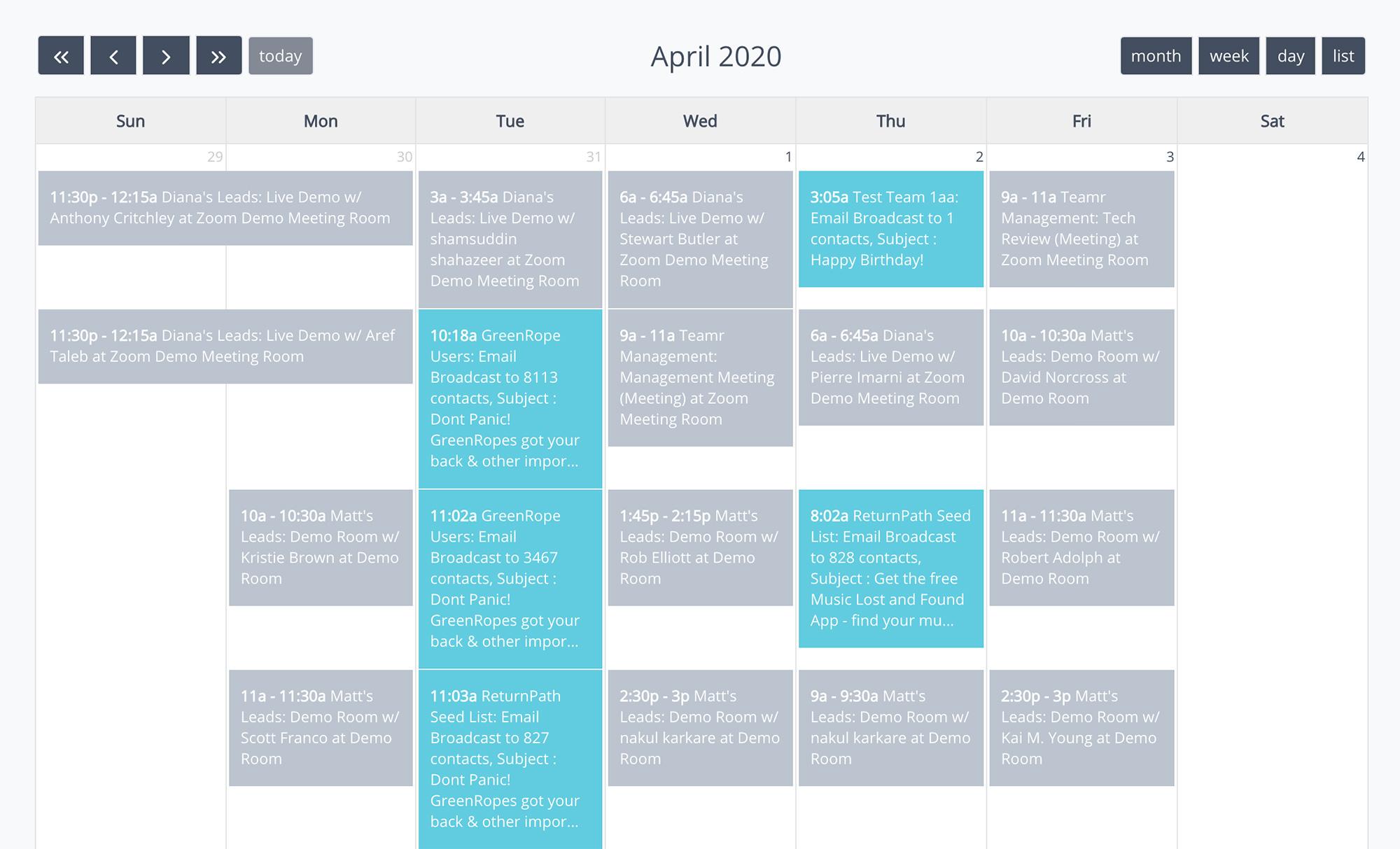 Calendar management CRM