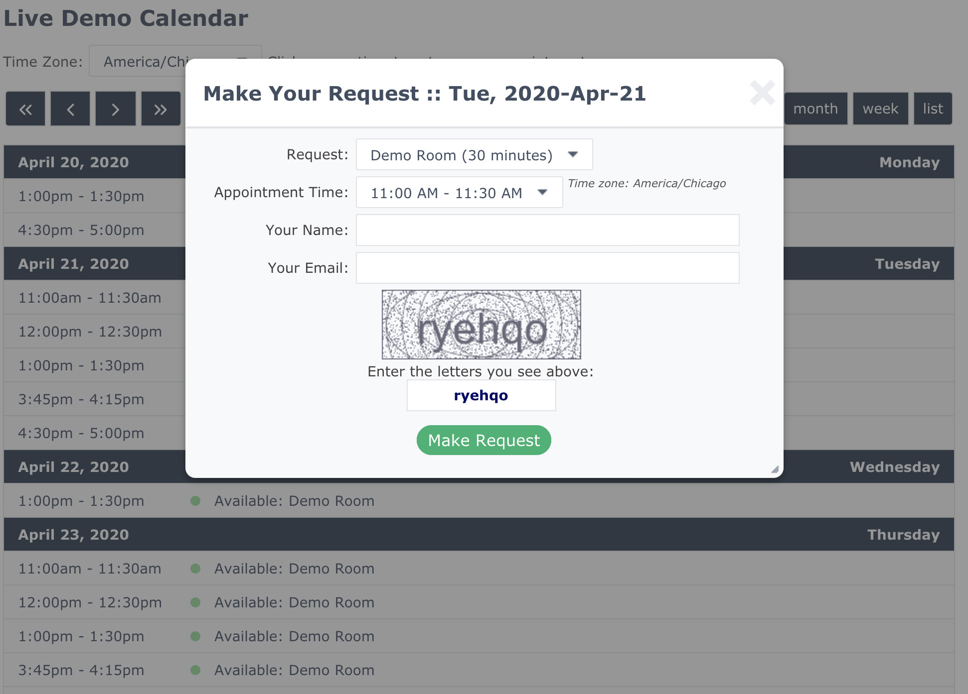 Booking Calender CRM