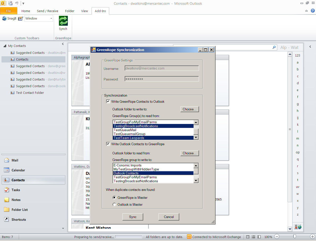 Outlook 2010 Syncing with GreenRope